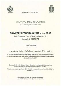 Le Ricadute del Giorno del Ricordo @ Codroipo (UD) | Codroipo | Friuli-Venezia Giulia | Italia